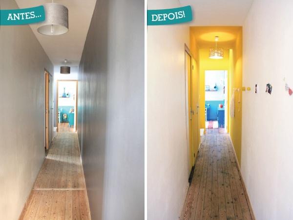 corredor iluminado mudando somente as cores da parede a casa que a minha v queria. Black Bedroom Furniture Sets. Home Design Ideas